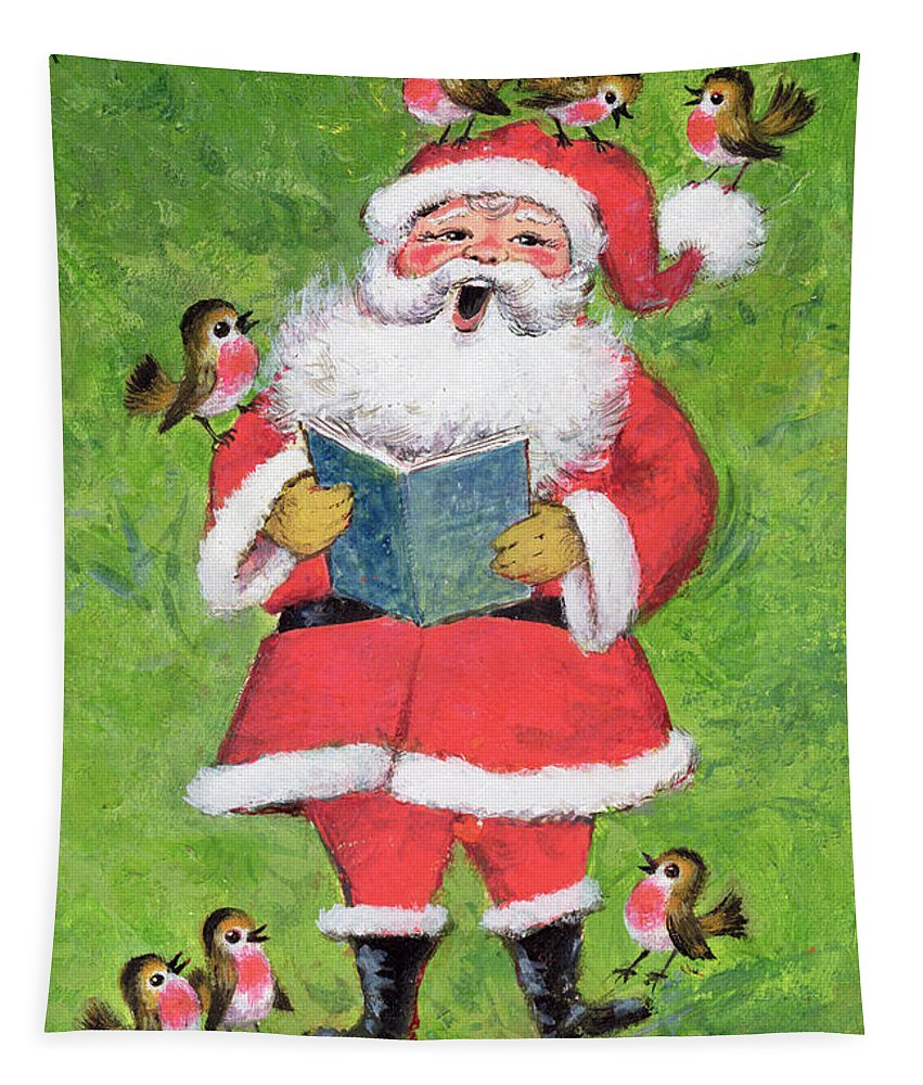 Christmas Tapestry featuring the painting Father Christmas And Robin Chorus by Stanley Cooke