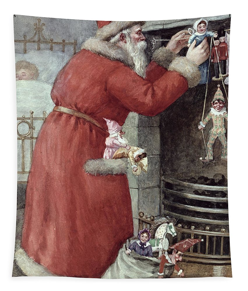 Father Tapestry featuring the painting Father Christmas by Karl Roger
