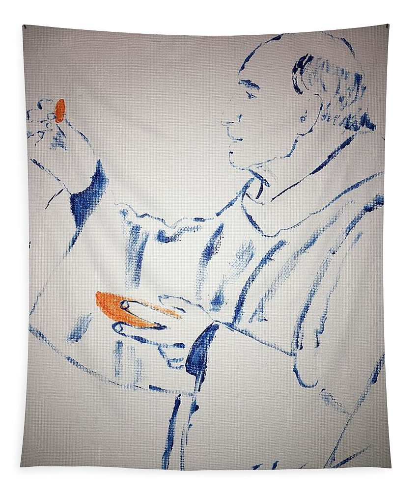 French Priest Killed Tapestry featuring the painting Father Jacques Hamel by Jack Bunds