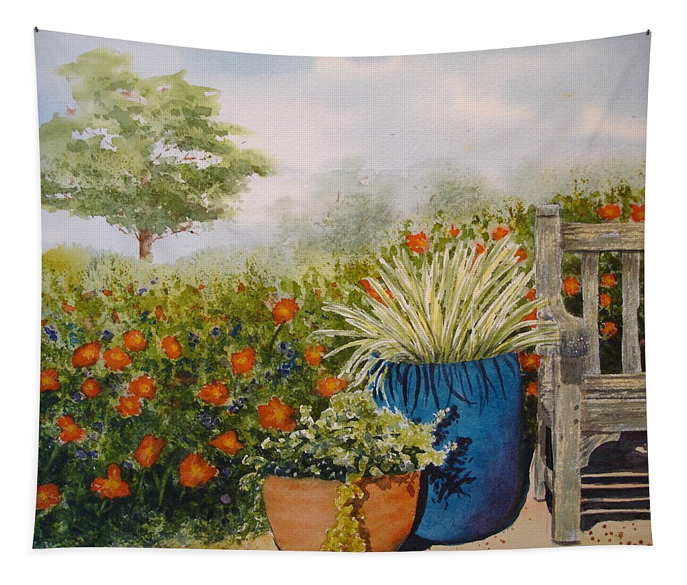 Garden Tapestry featuring the painting Favorite Garden Spot by Rosie Phillips