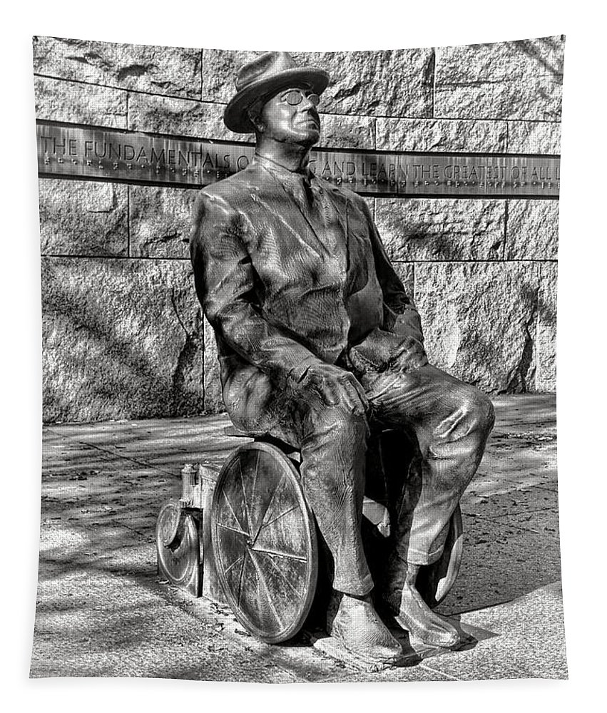 Fdr Tapestry featuring the photograph Fdr Memorial Sculpture In Wheelchair by Olivier Le Queinec