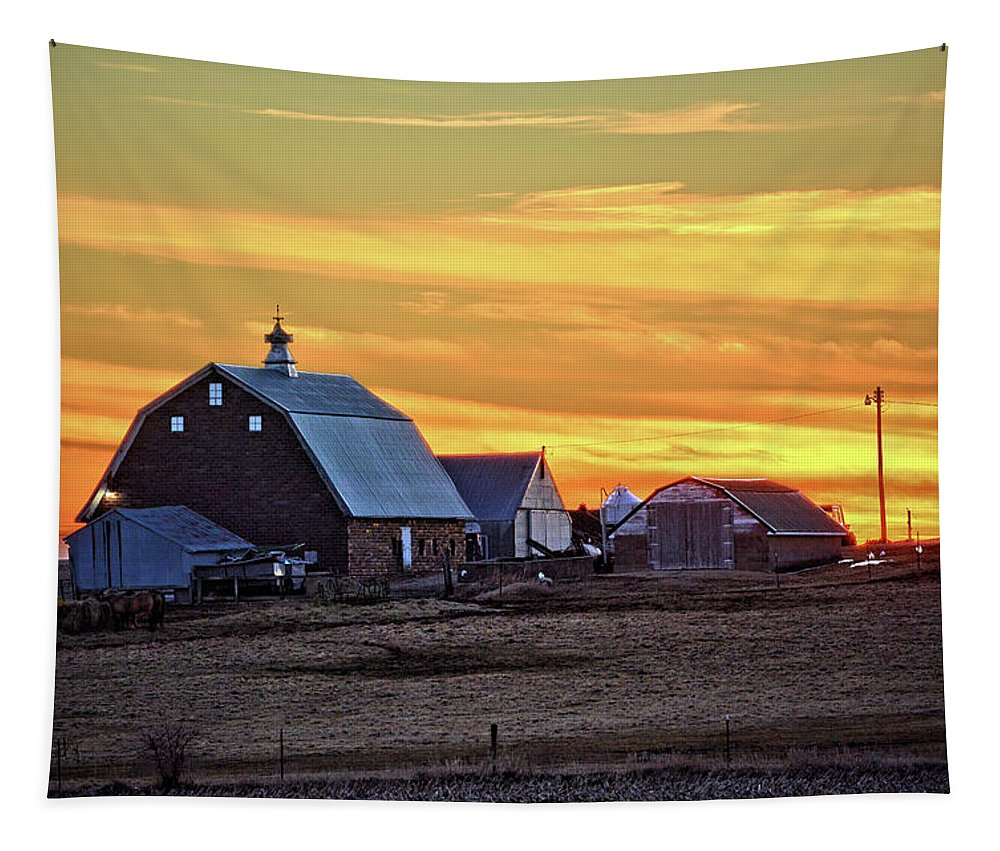 Barn Tapestry featuring the photograph February Farmset by Bonfire Photography