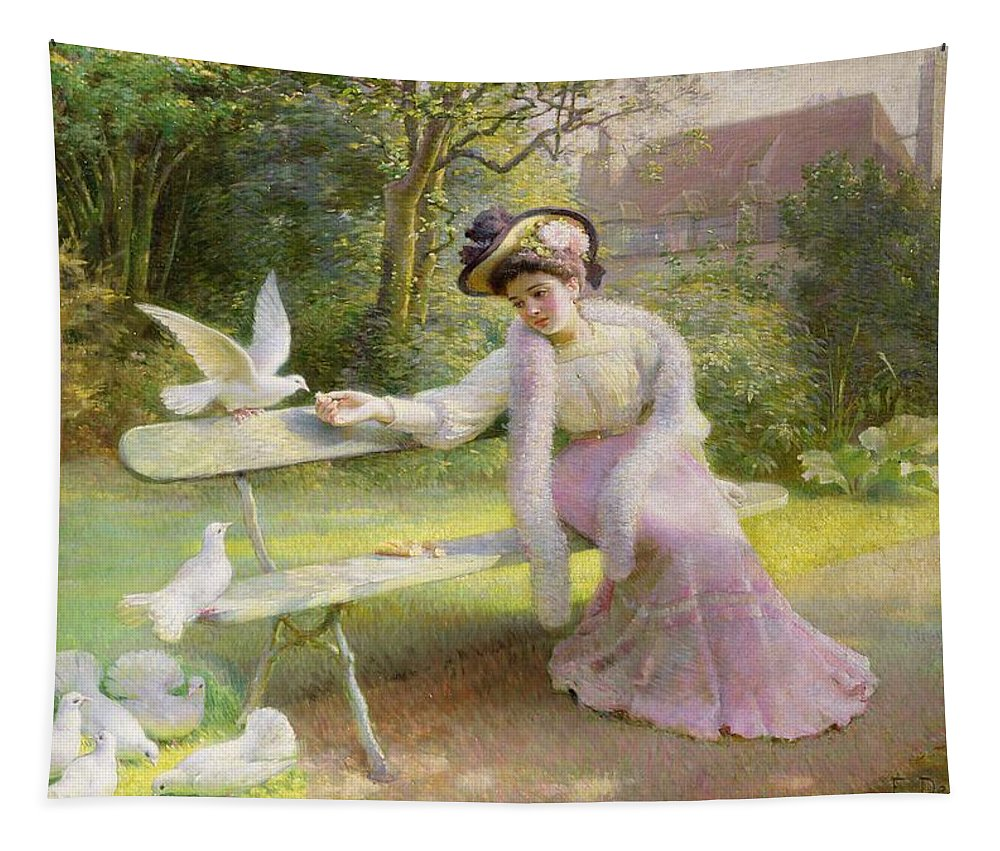 Feeding Tapestry featuring the painting Feeding The Doves by Edmond Alphonse Defonte