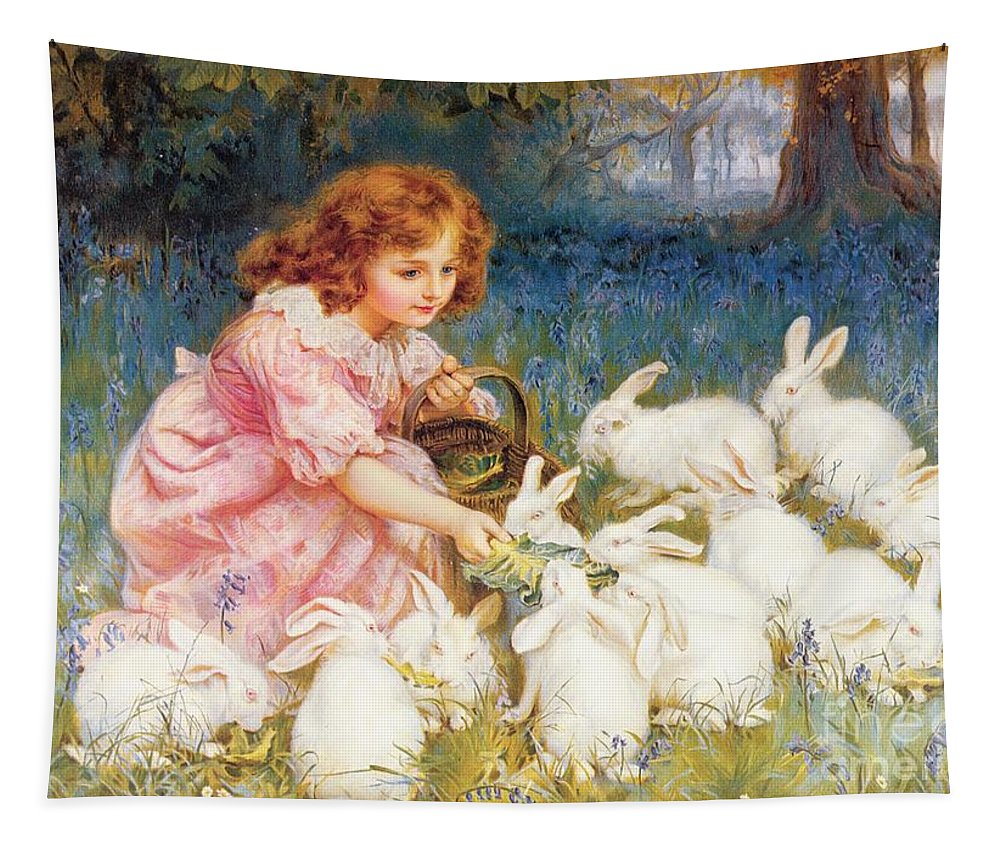 Feeding Tapestry featuring the painting Feeding The Rabbits by Frederick Morgan