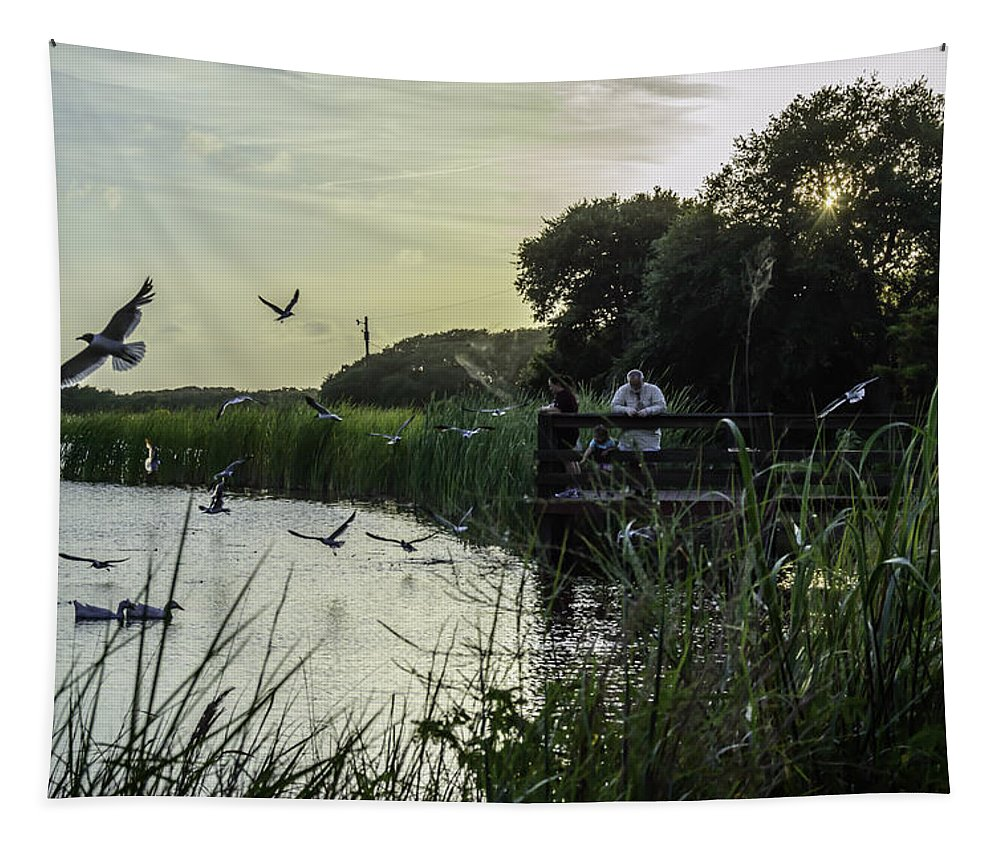Pond Tapestry featuring the photograph Feeding Time by Leticia Latocki