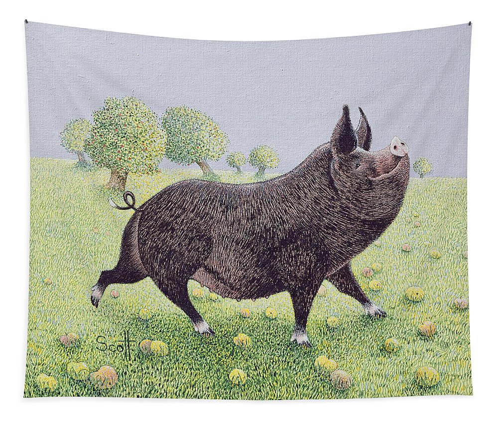 Apple Tapestry featuring the painting Feeling Great by Pat Scott