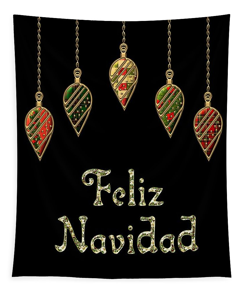Red Tapestry featuring the digital art Feliz Navidad Spanish Merry Christmas by Movie Poster Prints