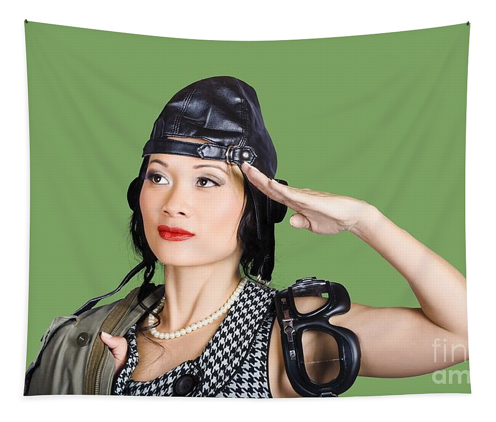 Pilot Tapestry featuring the photograph Female Aviation Lady Saluting In Pin-up Class by Jorgo Photography - Wall Art Gallery