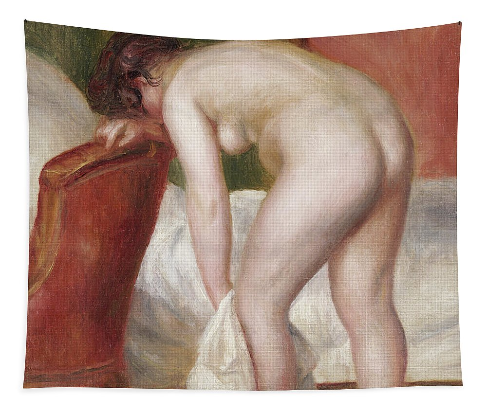 Impressionist Tapestry featuring the painting Female Nude Drying Herself by Pierre Auguste Renoir