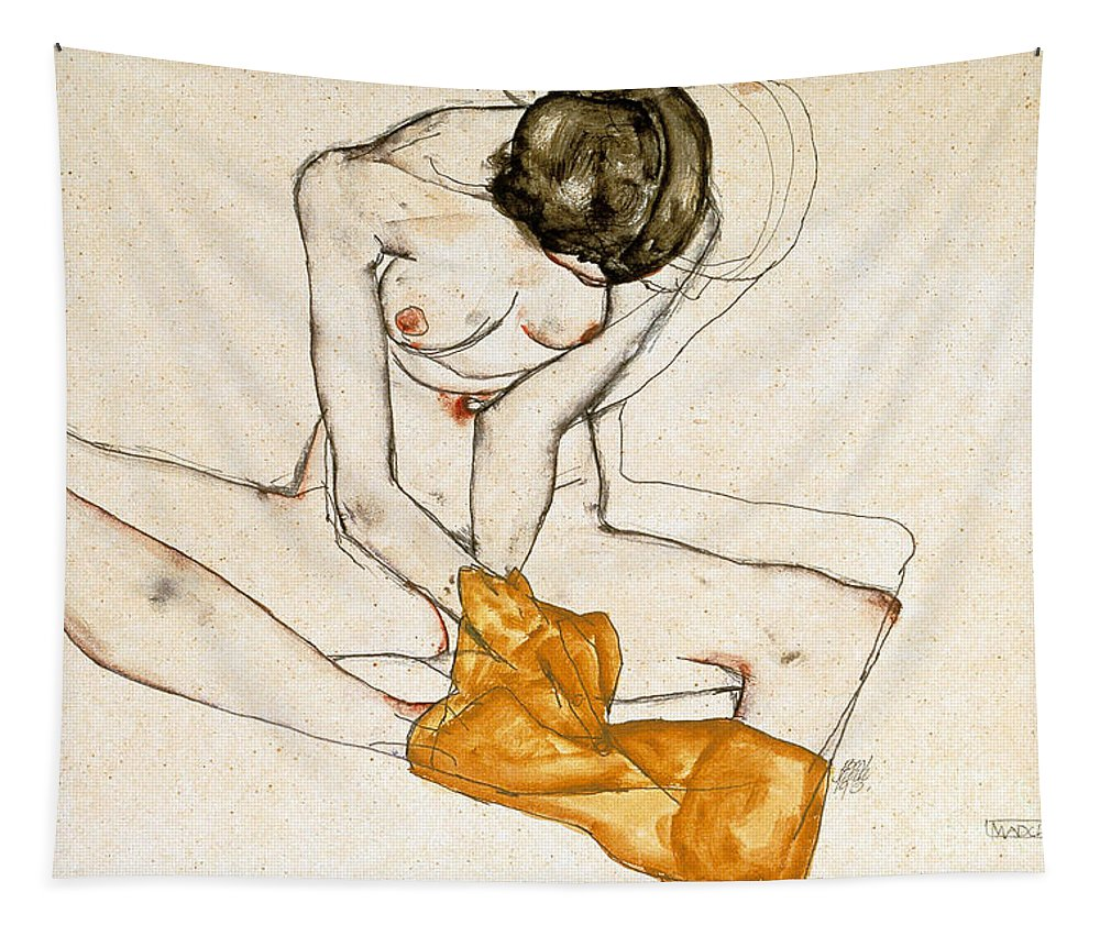 Female Nude Tapestry featuring the painting Female Nude by Egon Schiele