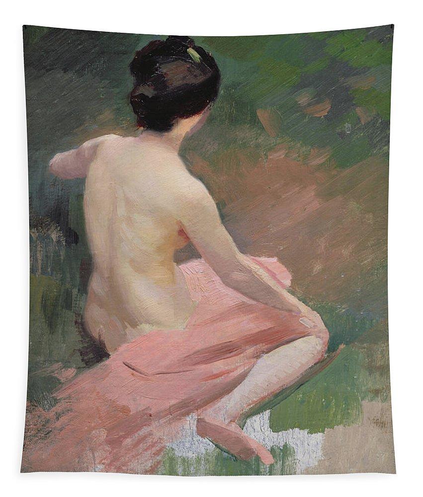 Female; Kneeling; En Plein Air; Al Fresco; Back Tapestry featuring the painting Female Nude by Jules Ernest Renoux