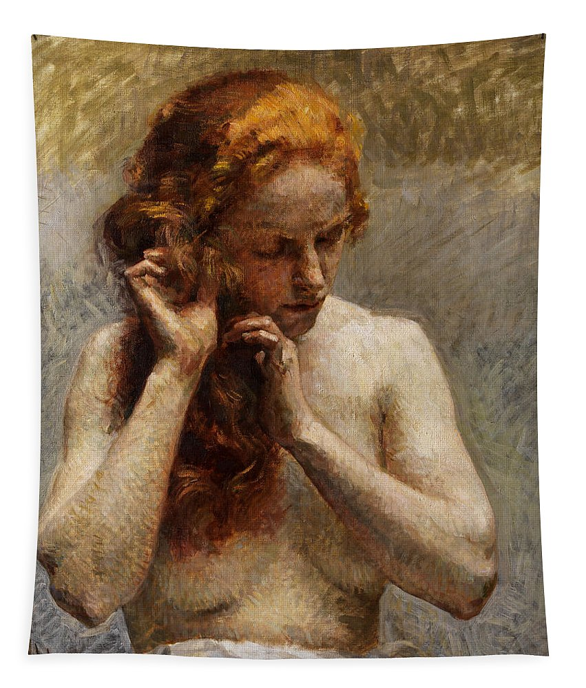 Vlaho Bukovac Tapestry featuring the painting Female Nude with Red Hair by Vlaho Bukovac