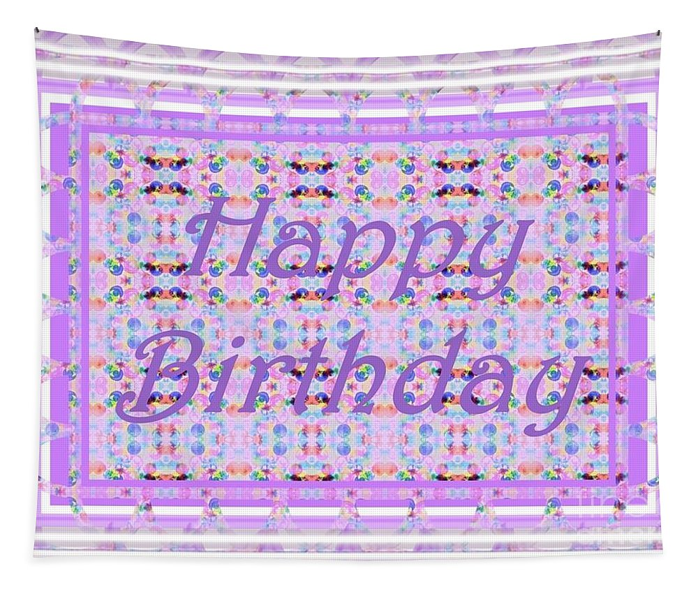 Happy Birthday Tapestry featuring the digital art Feminine Lavender Birthday Card by Barbie Corbett-Newmin
