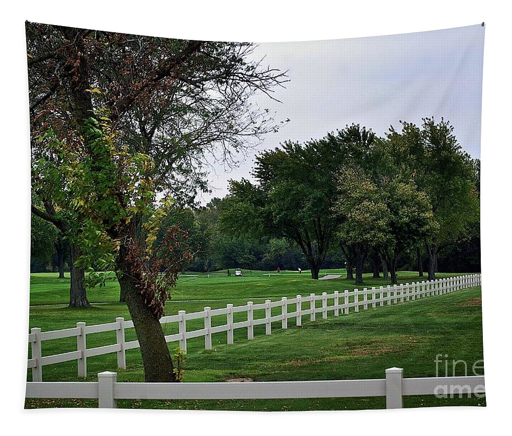 Frank J Casella Tapestry featuring the photograph Fence On The Wooded Green by Frank J Casella