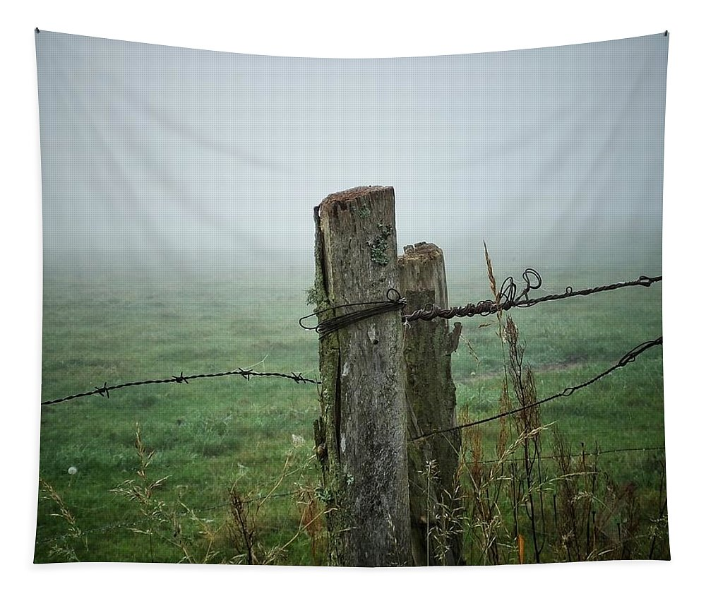 Nature Tapestry featuring the photograph Fence Post And Fog by Karen Stahlros