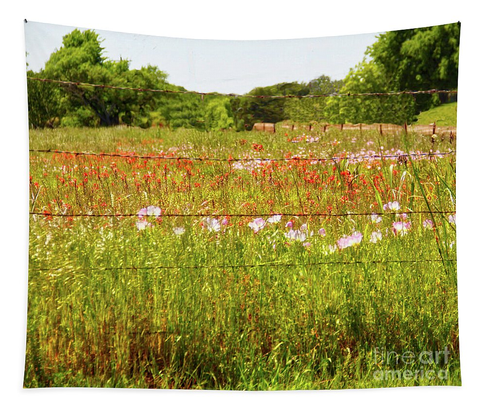 Wildflowers Tapestry featuring the photograph Fenced In Wildflowers by Linda James