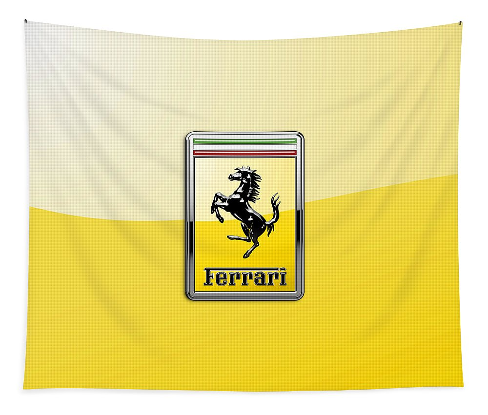 �auto Badges� Collection By Serge Averbukh Tapestry featuring the photograph Ferrari 3D Badge- Hood Ornament on Yellow by Serge Averbukh