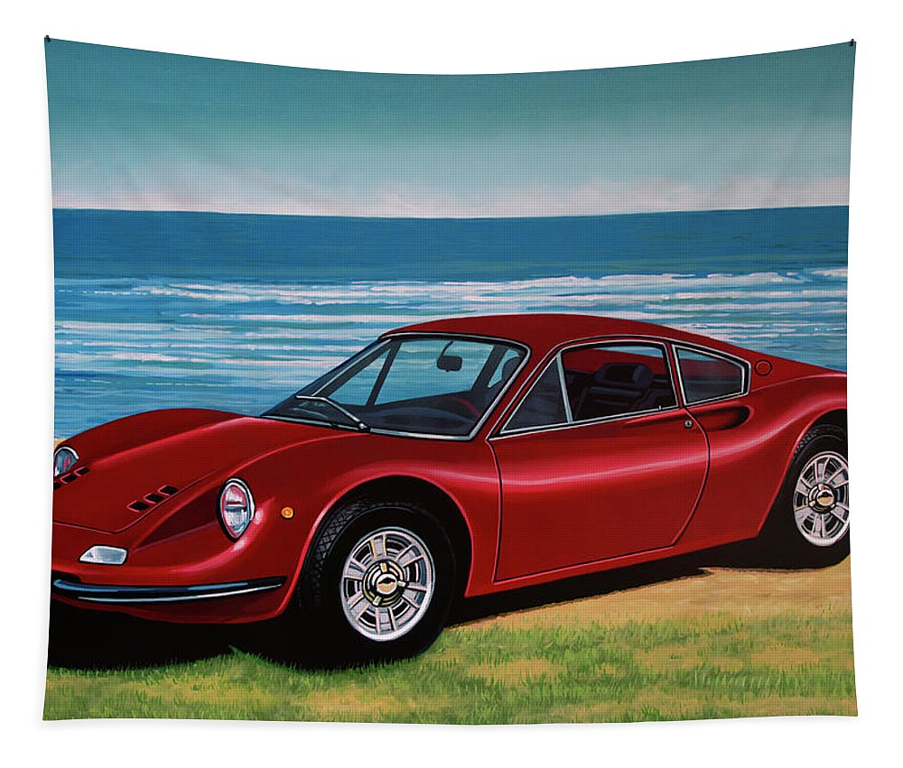 Ferrari Dino 246 Gt Tapestry featuring the painting Ferrari Dino 246 Gt 1969 Painting by Paul Meijering