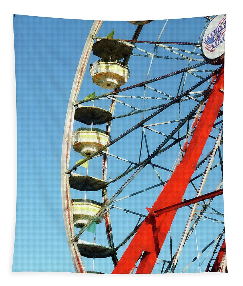 Carnival Tapestry featuring the photograph Ferris Wheel Closeup by Susan Savad