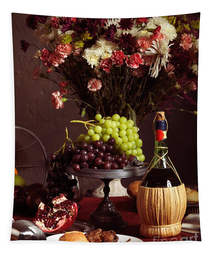 Feast Tapestry featuring the photograph Festive Dinner Still Life by Oleksiy Maksymenko