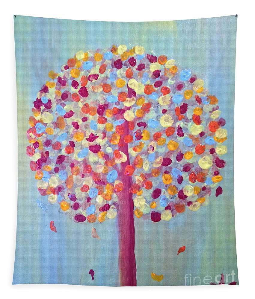 Gorgeous Tapestry featuring the painting Festive Tree by Sandra Gallegos