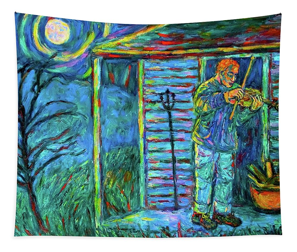 Fiddler Tapestry featuring the painting Fiddling at Midnight's Farm House by Kendall Kessler