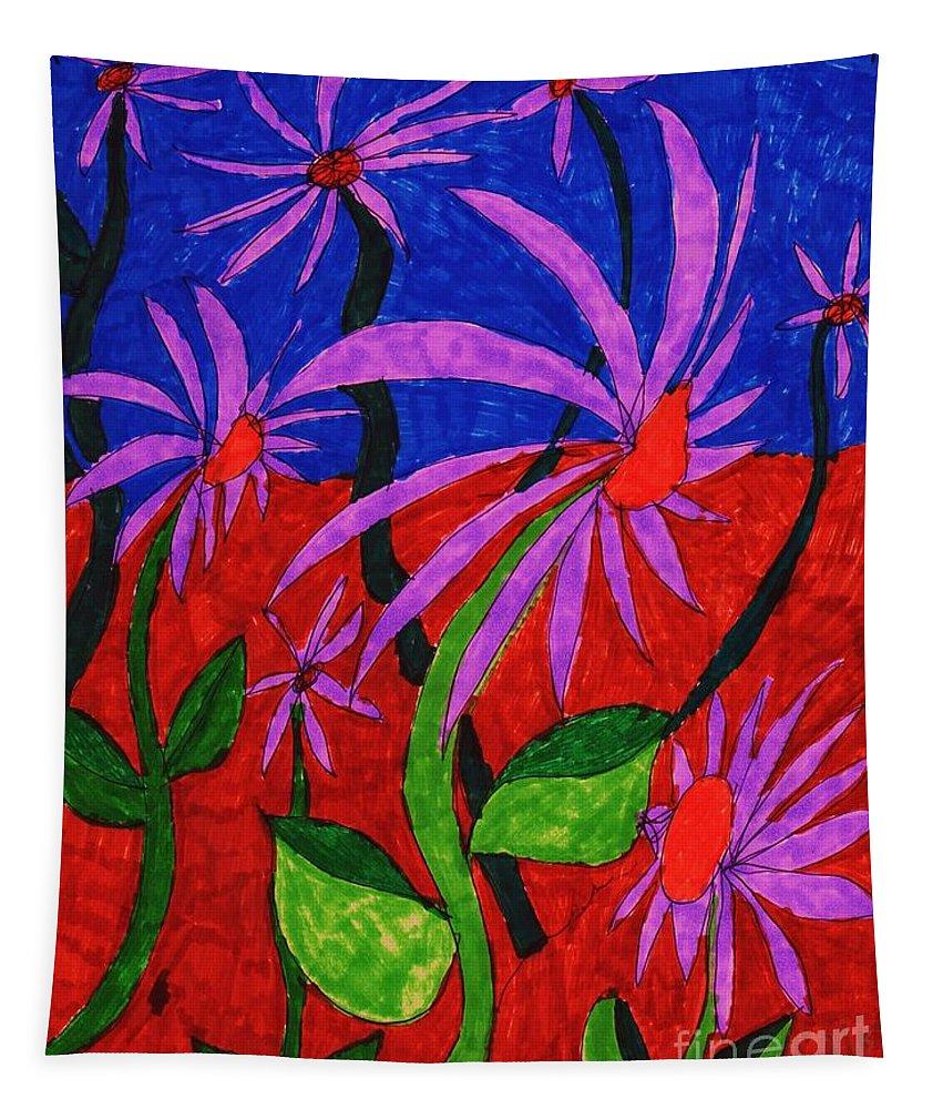 Arrangement Of A Field Of Flowers Tapestry featuring the mixed media Field Of Purple Flowers by Elinor Helen Rakowski