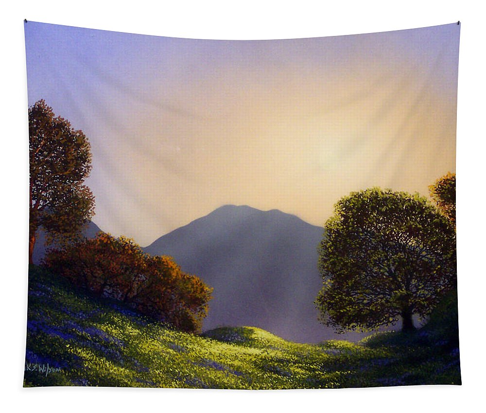 Landscape Tapestry featuring the painting Field Of Wildflowers by Frank Wilson