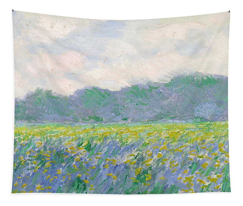 Tapestry featuring the painting Field of Yellow Irises at Giverny by Claude Monet
