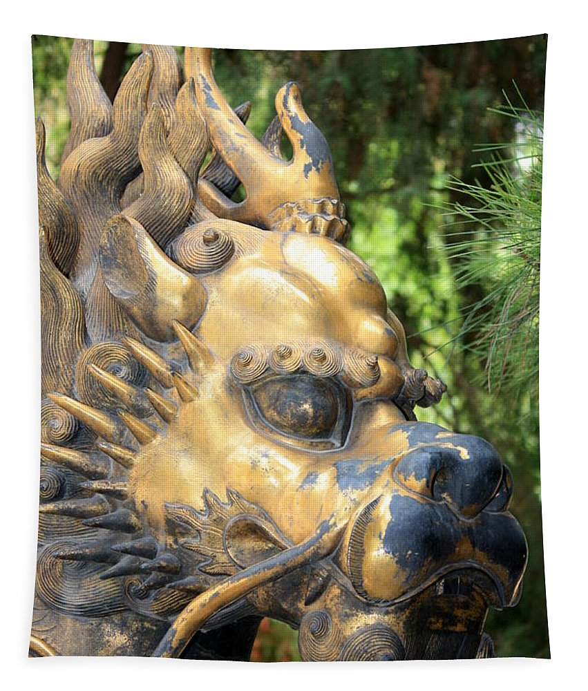 Foo Dog Tapestry featuring the photograph Fierce Foo Dog Face by Carol Groenen