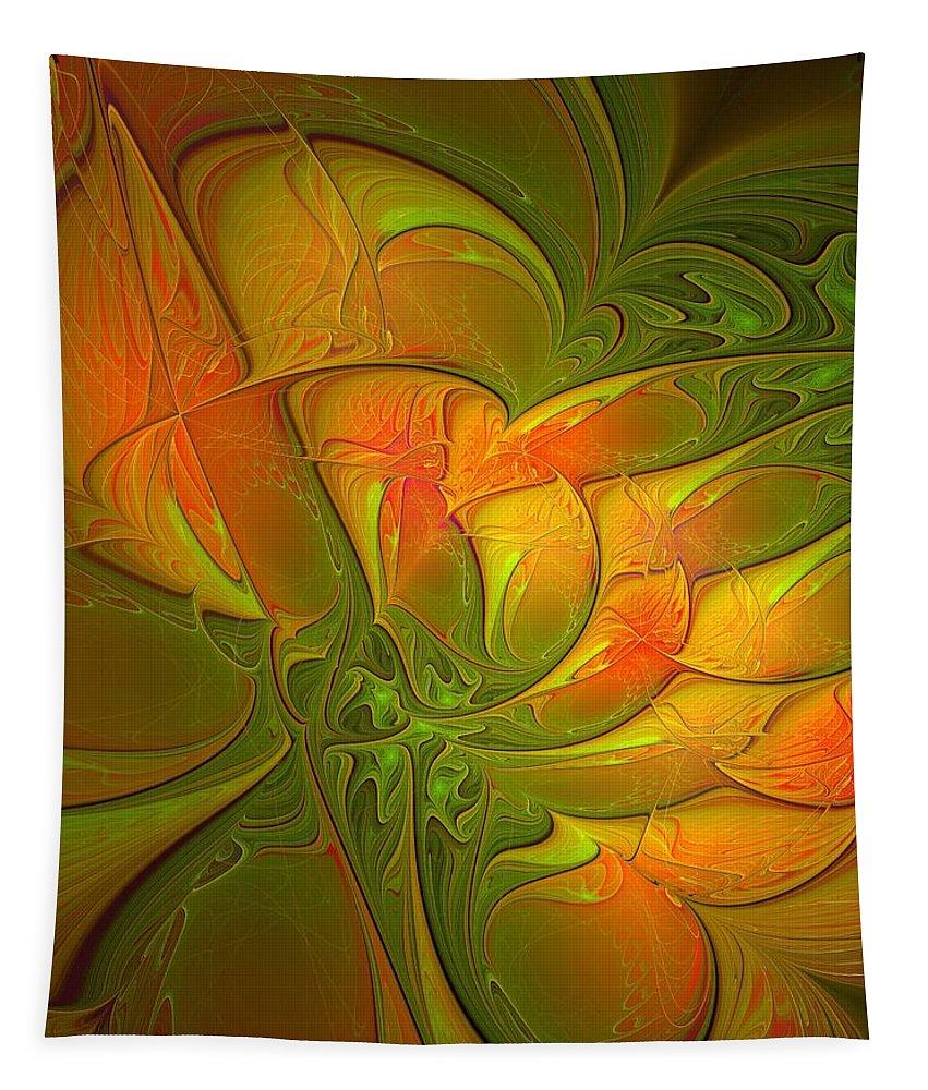 Digital Art Tapestry featuring the digital art Fiery Glow by Amanda Moore