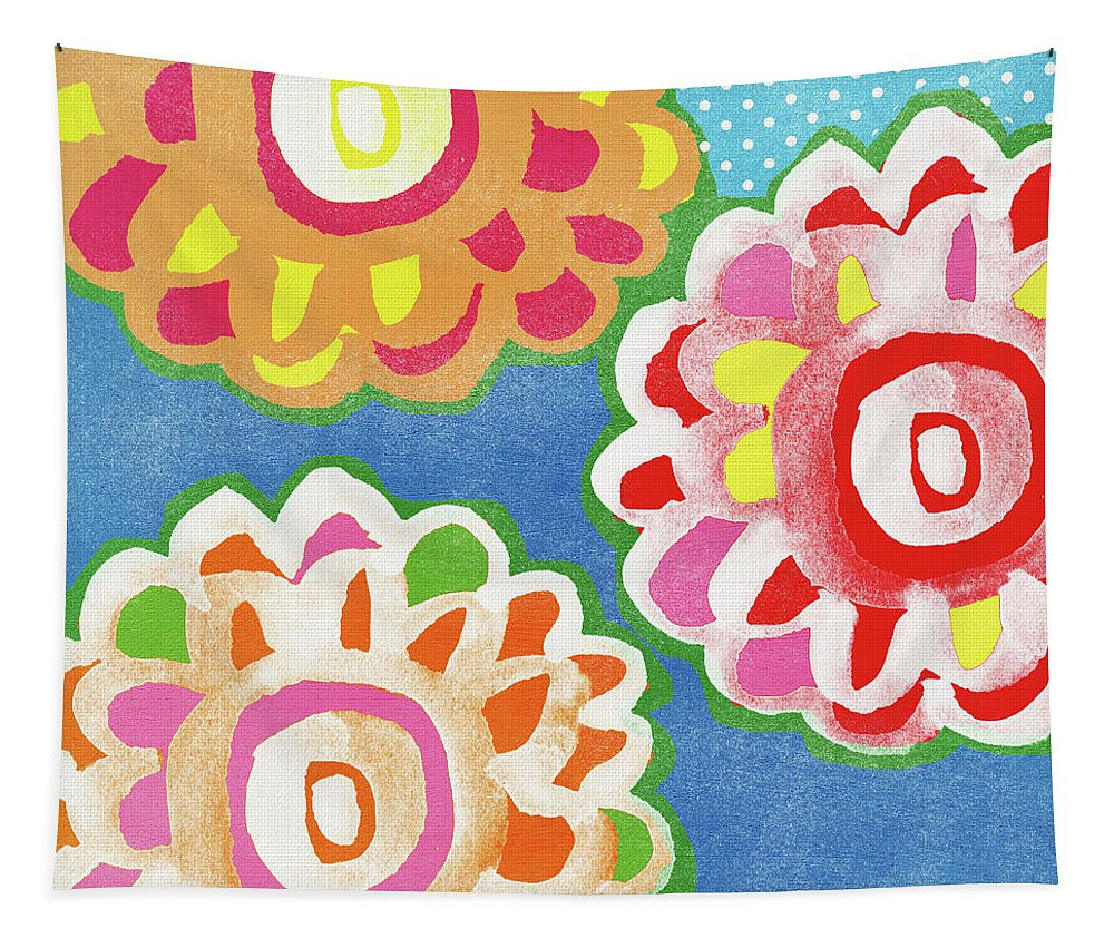 Flowers Tapestry featuring the mixed media Fiesta Floral 3- Art by Linda Woods by Linda Woods