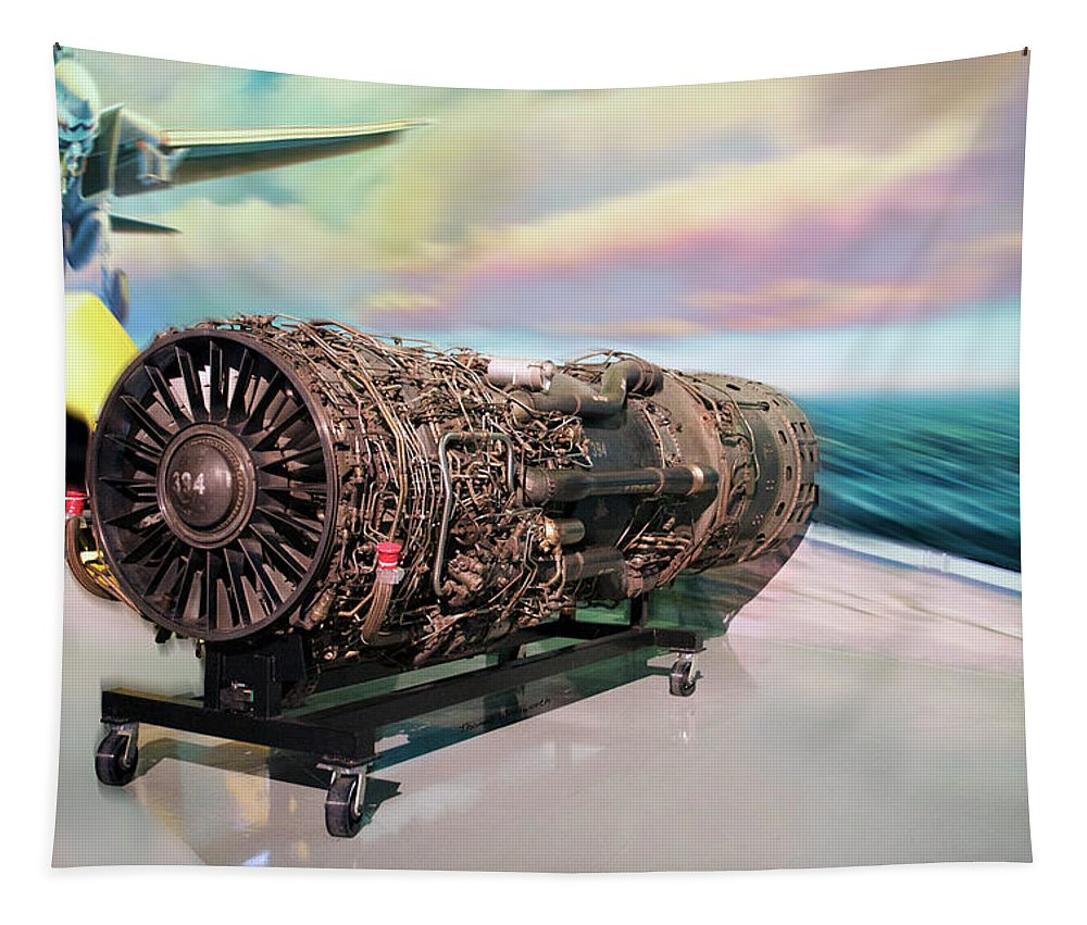 Air Zoo Tapestry featuring the mixed media Fighter Jet Engine by Thomas Woolworth