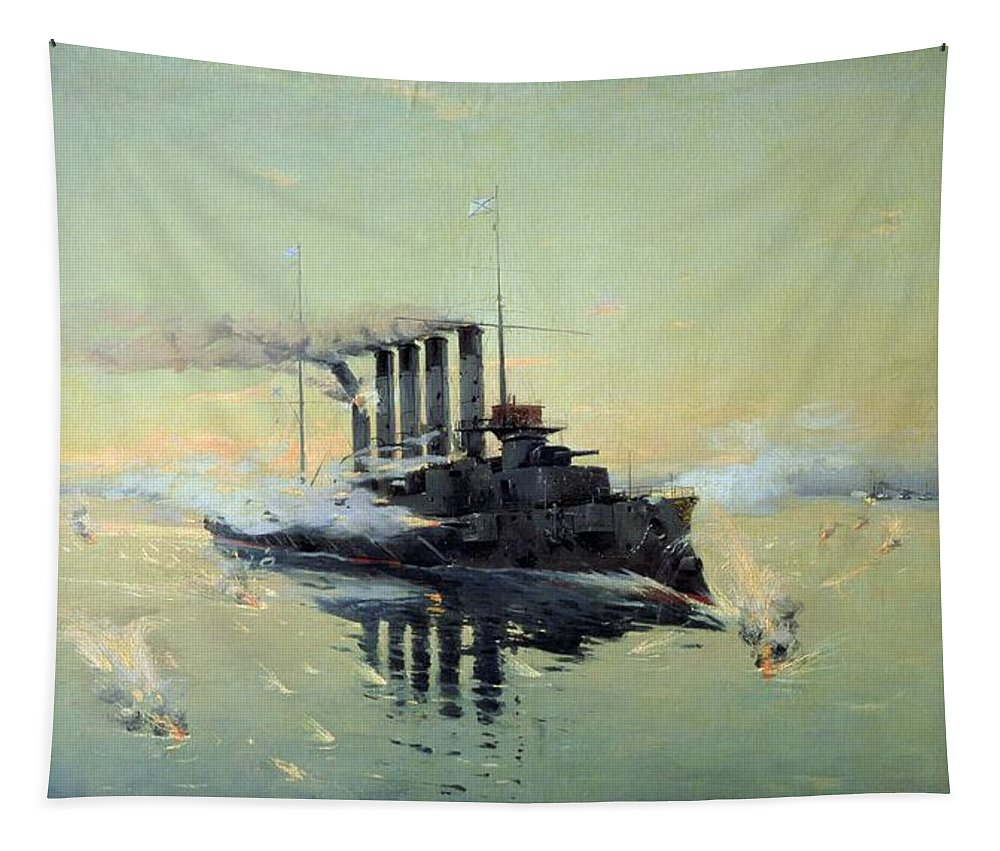 Cruiser Tapestry featuring the painting Fighting On July In The Yellow Sea by Konstantin Veshchilov