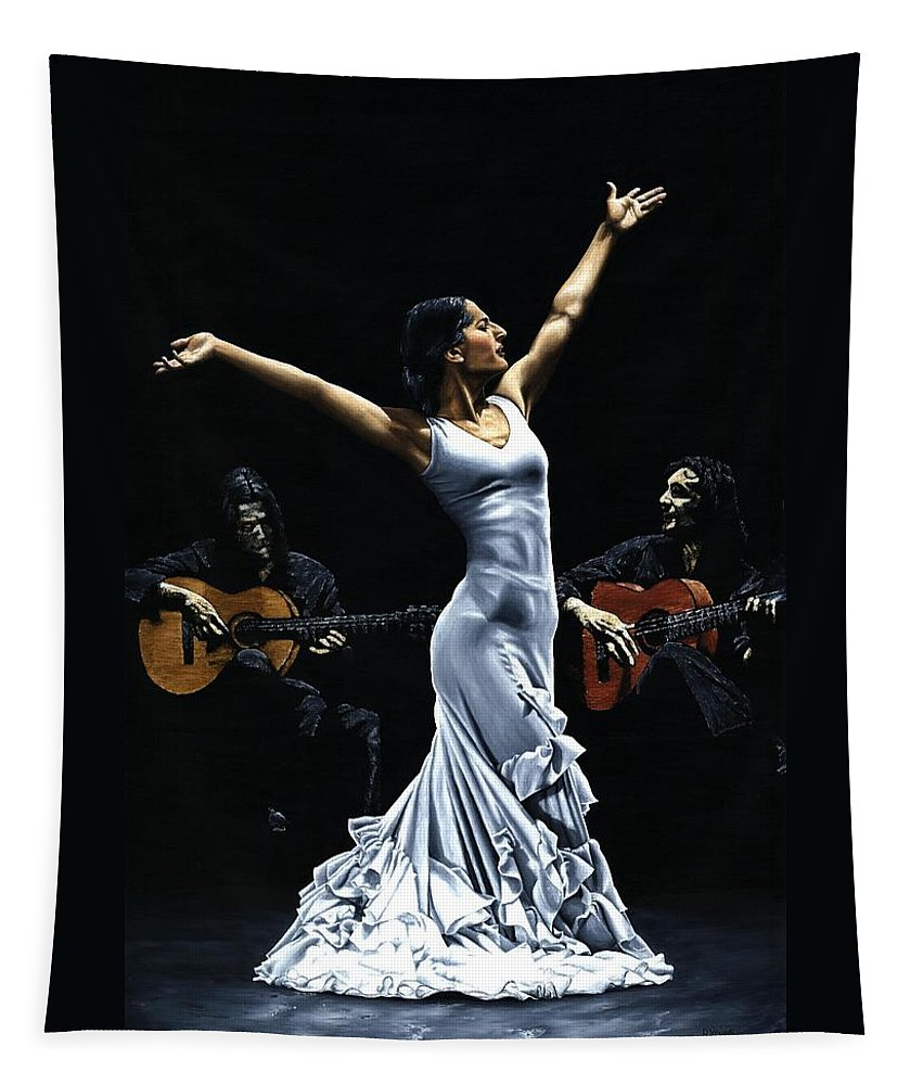 Flamenco Tapestry featuring the painting Finale del Funcionamiento del Flamenco by Richard Young