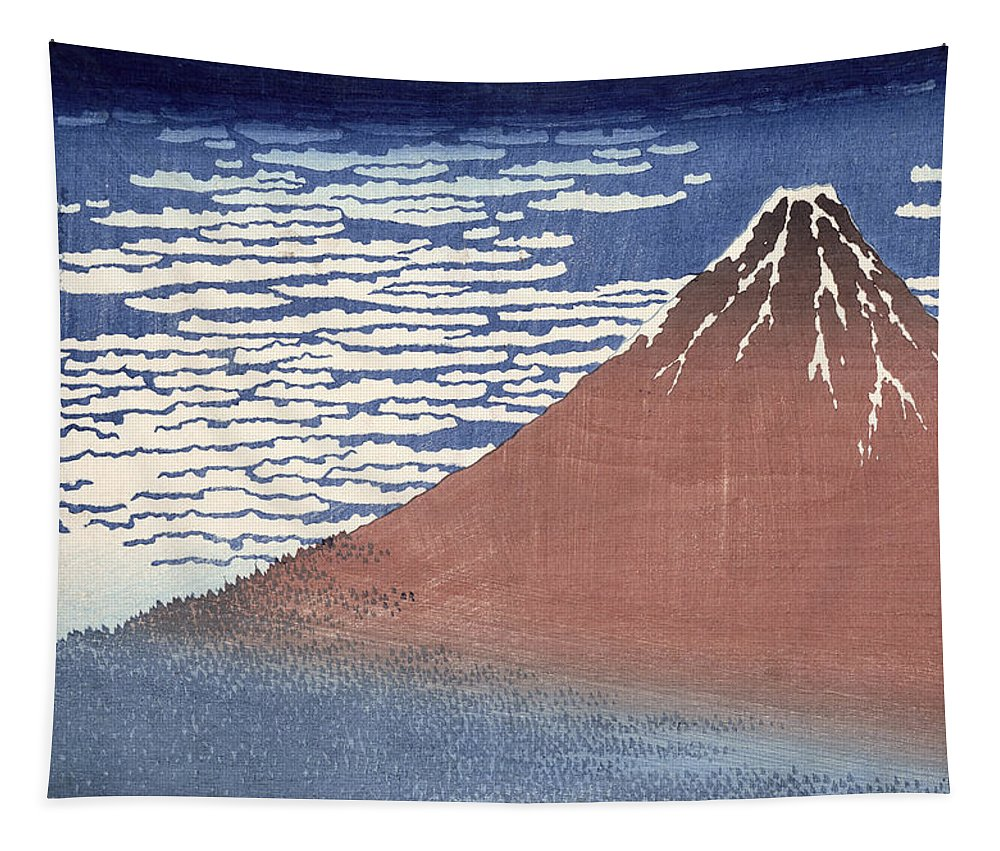 Fine Tapestry featuring the painting Fine Weather With South Wind by Hokusai