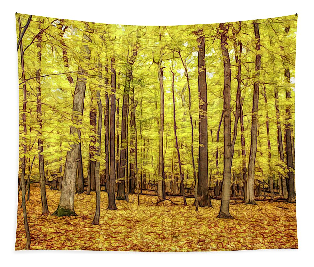 Autumn Tapestry featuring the photograph Fine Wine Cafe Golden Woods by Aimee L Maher ALM GALLERY