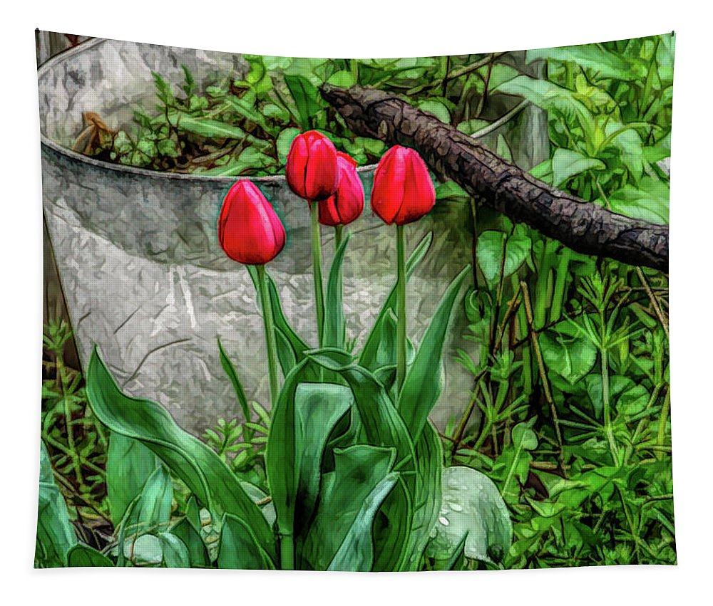 Tulips Tapestry featuring the photograph Fine Wine Cafe Red Tulips by Aimee L Maher ALM GALLERY