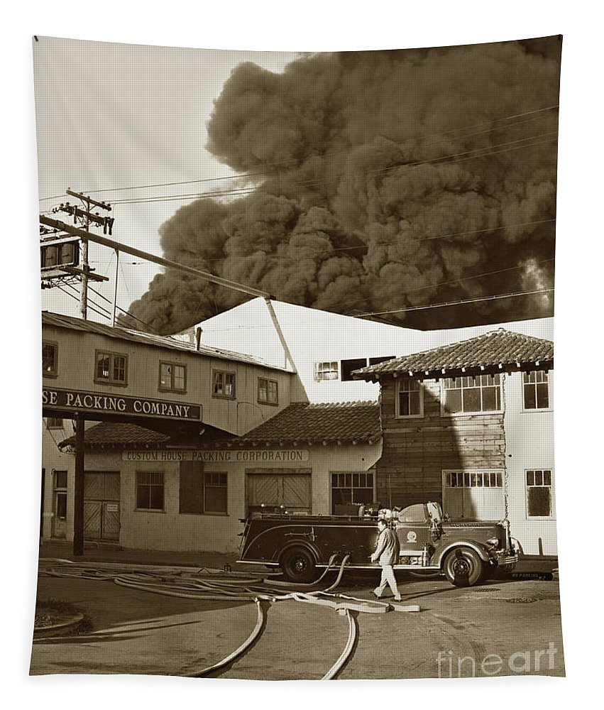 Fire At Cannery Row Tapestry featuring the photograph Fire At Cannery Row, Custom House Packing Company Sea Beach Cannery 1953 by California Views Archives Mr Pat Hathaway Archives
