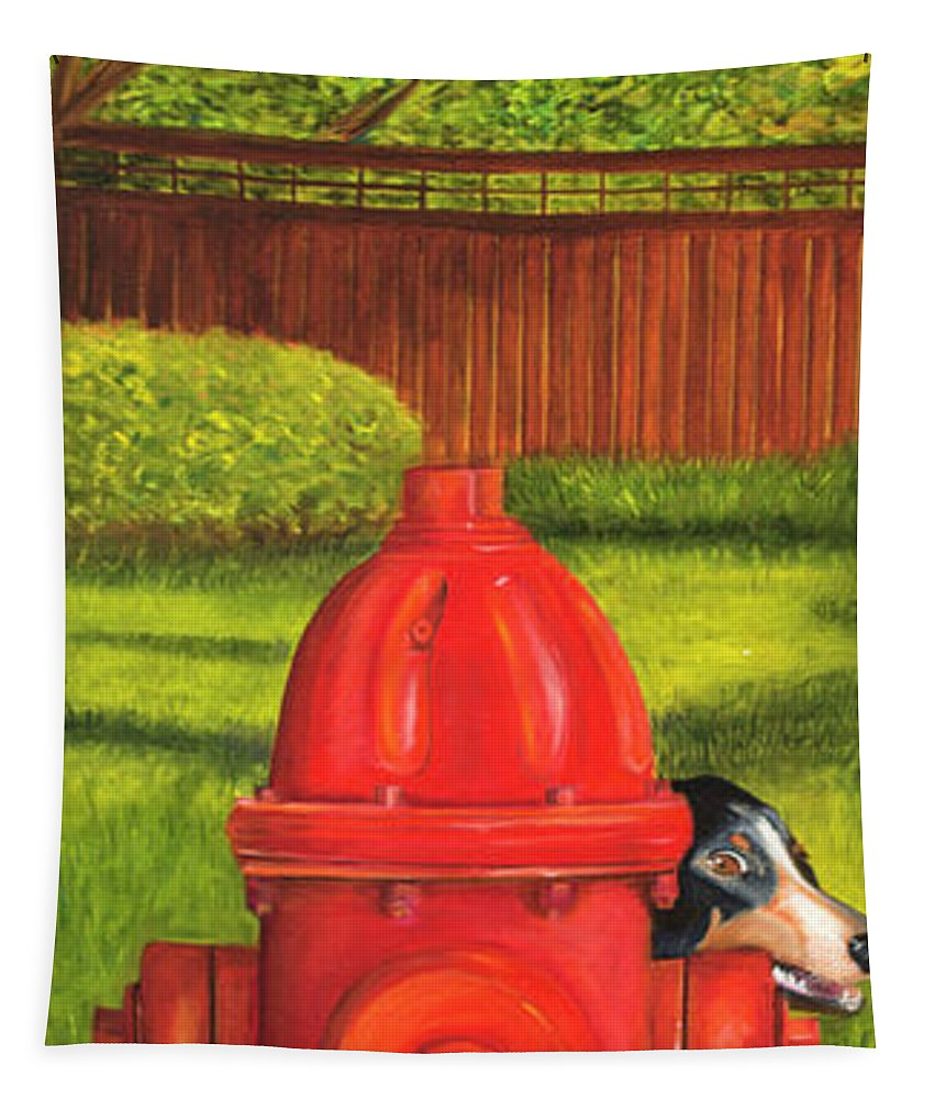 Fire Hydrant Dog Tapestry featuring the photograph Fire Hydrant Dog by Iris Richardson