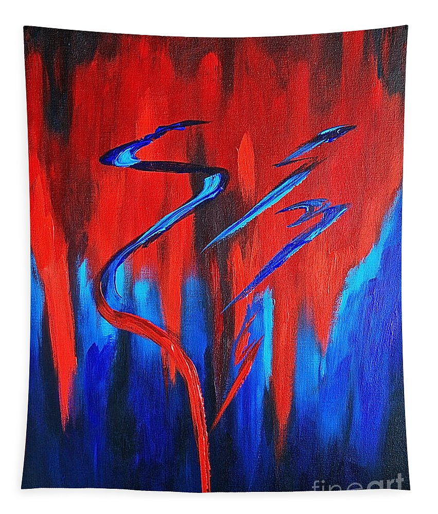Abstract / Sexy Red And Blue By Herschel Fall Tapestry featuring the painting Fire Lake by Herschel Fall