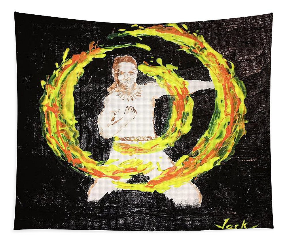 Tapestry featuring the painting Fire Man by Jack Bunds