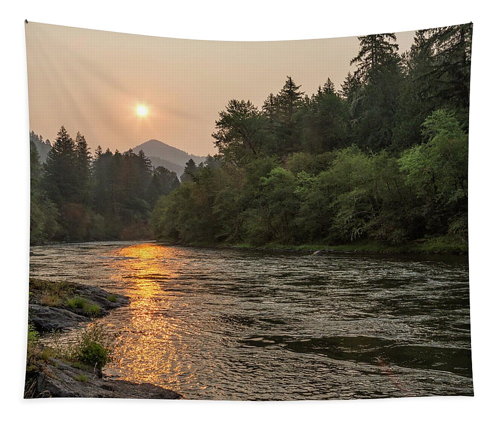 Sun Tapestry featuring the photograph Fire Sunrise On Mckenzie River by Belinda Greb