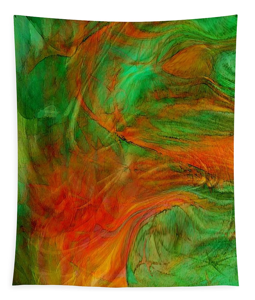 Abstract Art Tapestry featuring the digital art Fire Tree by Linda Sannuti