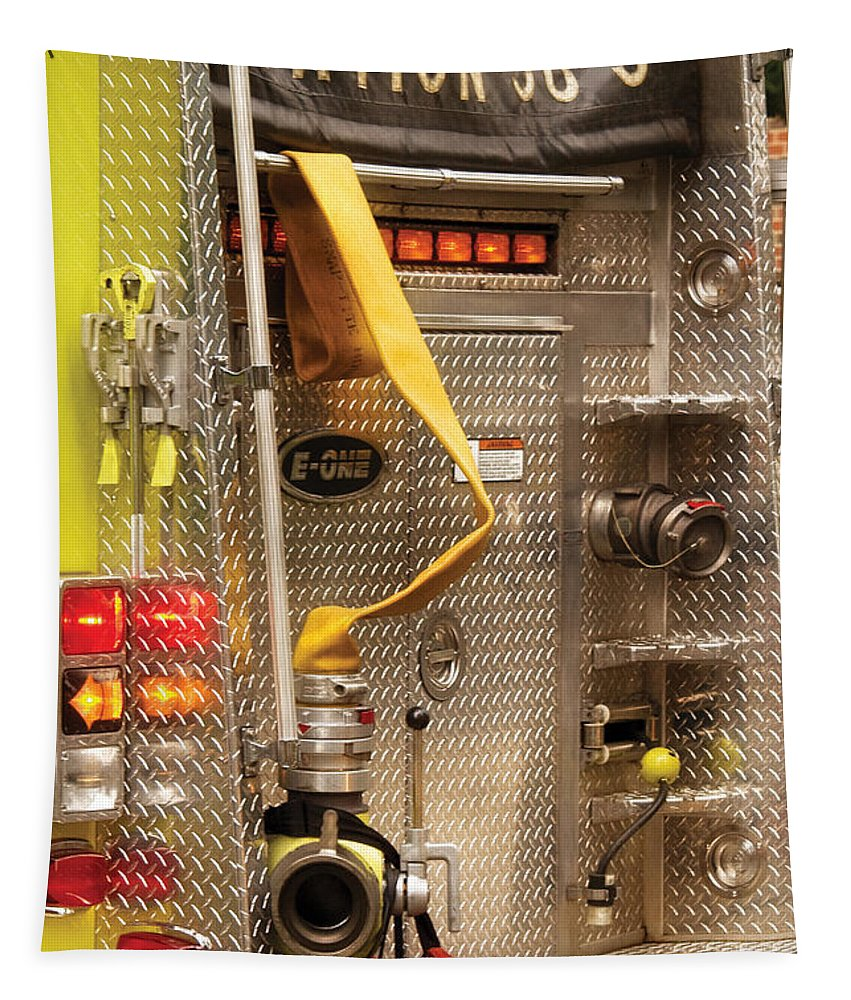 Savad Tapestry featuring the photograph Fireman - Station - 36-3 by Mike Savad