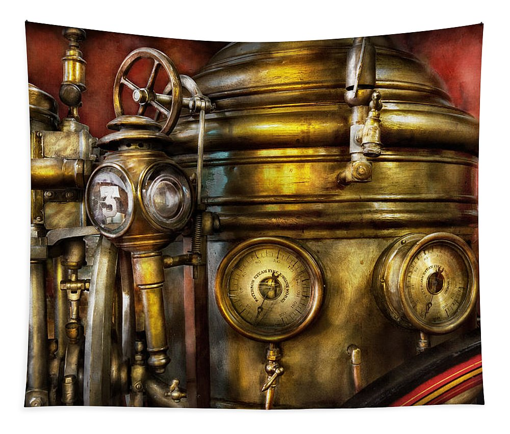 Suburbanscenes Tapestry featuring the photograph Fireman - The Steam Boiler by Mike Savad