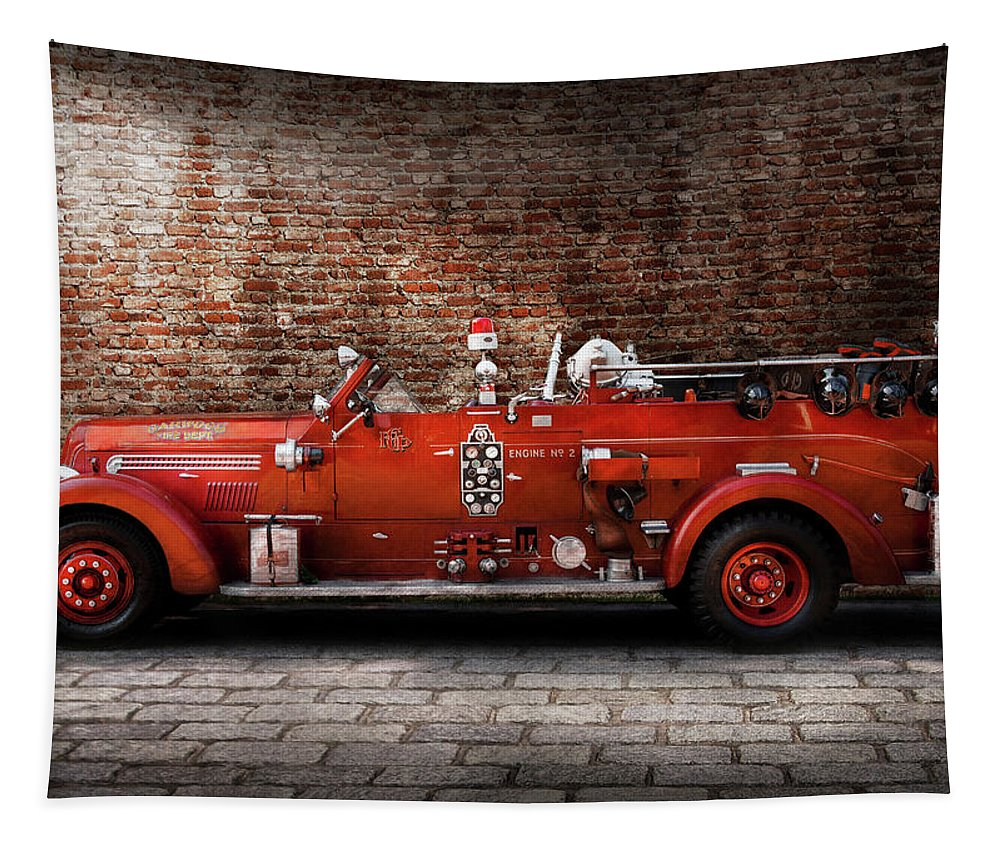 Fireman Tapestry featuring the photograph Fireman - Fgp Engine No2 by Mike Savad