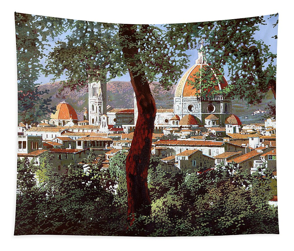 Landscape Tapestry featuring the painting Firenze by Guido Borelli