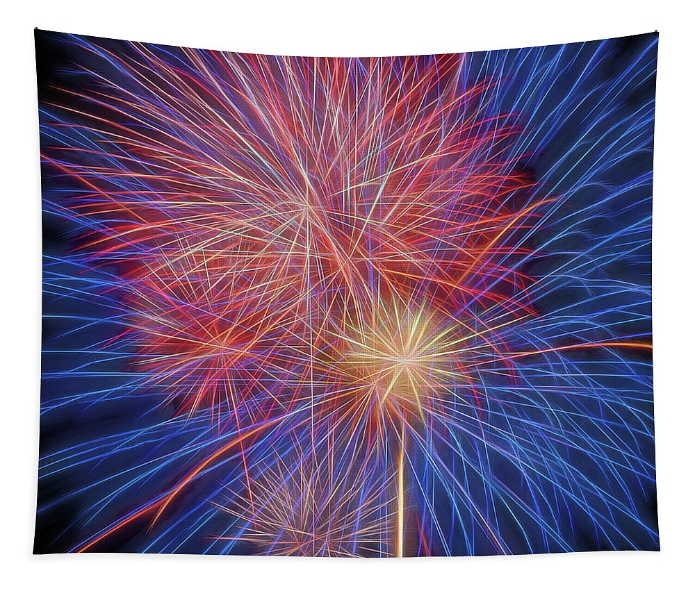 Terry D Photography Tapestry featuring the photograph Fireworks Celebration Glow Square by Terry DeLuco
