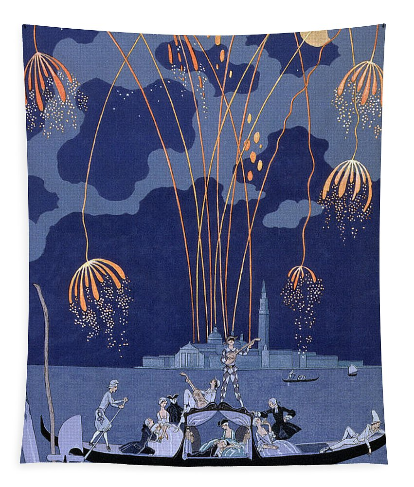 Art Deco; Stencil; Night; Grand Canal; Campanile; Gondola; Boat; Minstrels; Lovers; Couples; Musicians; 18th Century Costume; Poem; Romantic Tapestry featuring the painting Fireworks In Venice by Georges Barbier